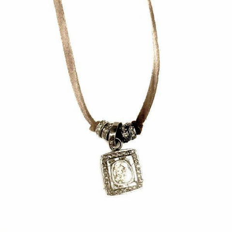 ROSE CUT SQUARE PENDANT ON BROWN SUEDE NECKLACE - A.FIER LIFESTYLE