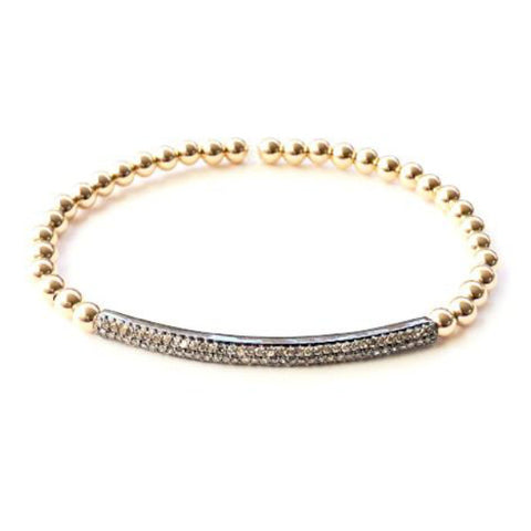 14k GOLD BALL BRACELET WITH DIAMOND BAR - A.FIER LIFESTYLE
