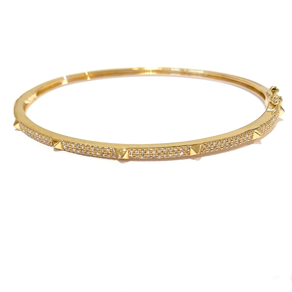 Gold and Diamond Spike Bangle