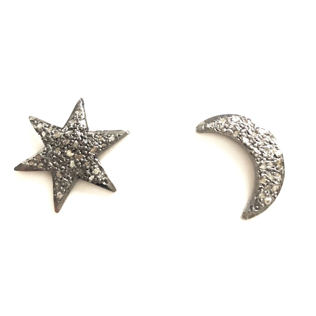 MOON STAR PAVE DIAMOND EARRINGS - A.FIER LIFESTYLE
