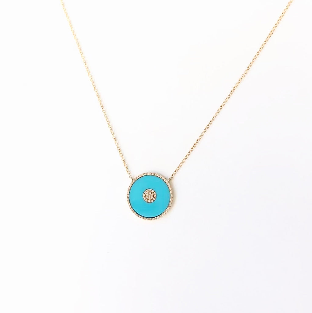 Large Turquoise & Diamond Disc Necklace