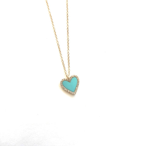 Floating turquoise heart necklace
