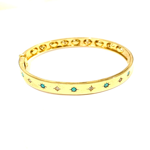 Turquoise and Diamond Starburst Bangle