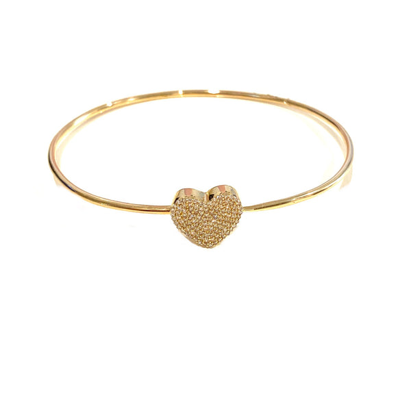 Pave Diamond Heart Bangle