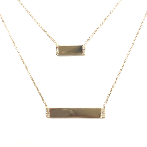 Diamond Edge Gold Bar Necklace