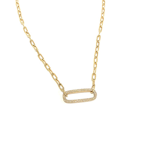 Pave diamond and paperclip chain