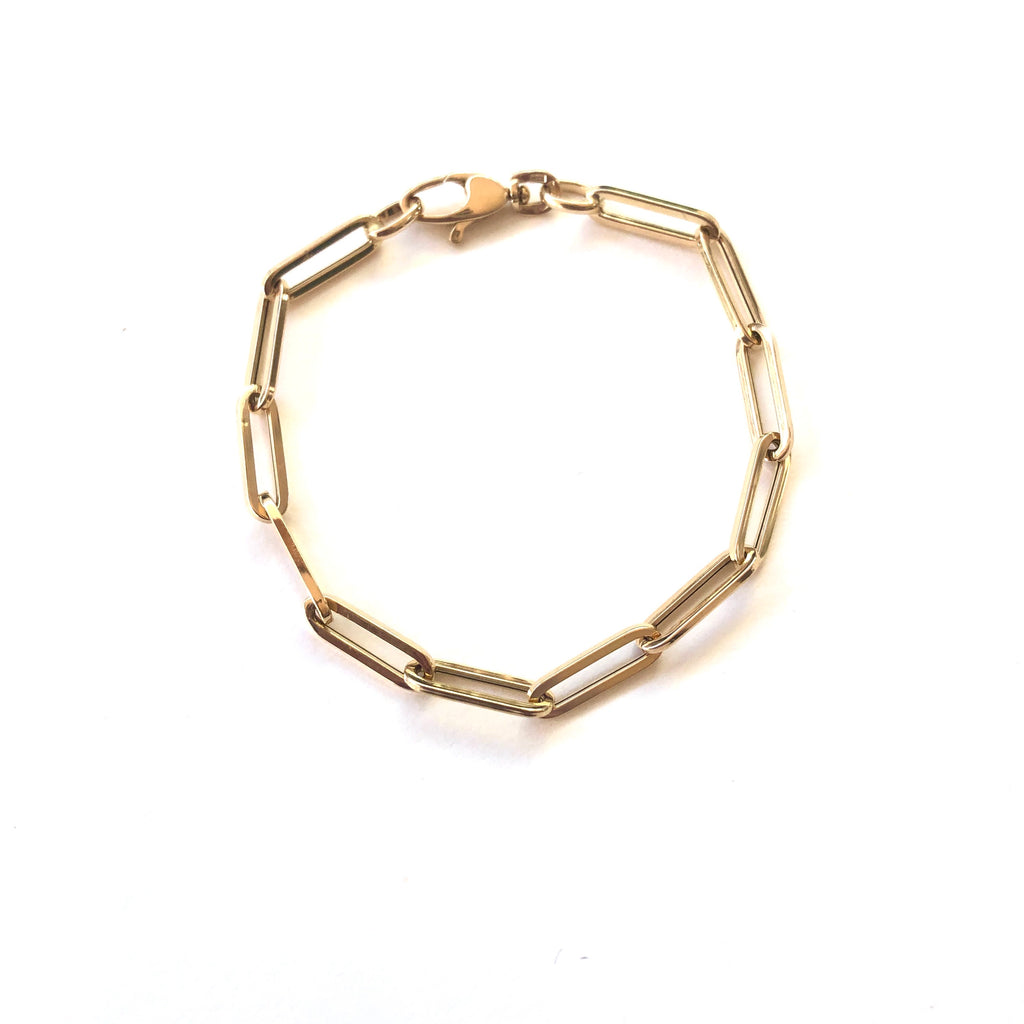Thick Paperclip Gold Bracelet (semi hollow)