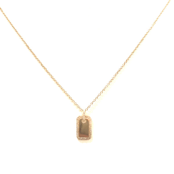 Gold and Diamond Mini Dog Tag Necklace