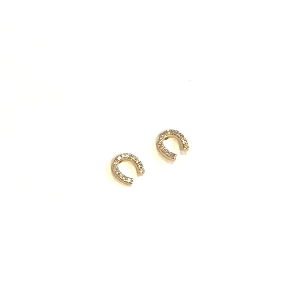 Mini Horseshoe Diamond Earrings - PAIR