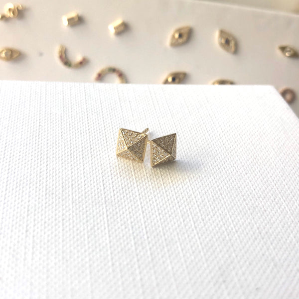 Pyramid Stud Earrings - PAIR