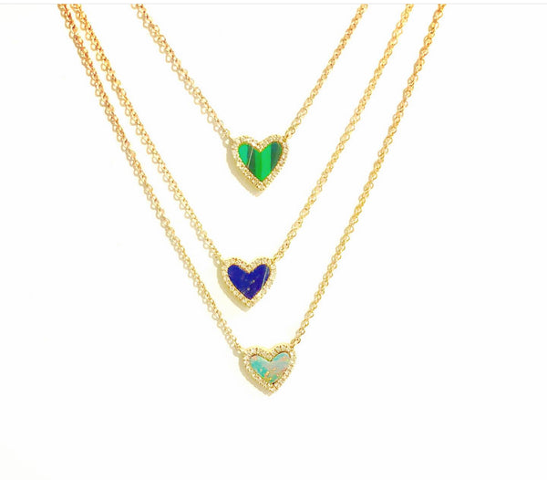 Gemstone & Diamond Heart Necklaces