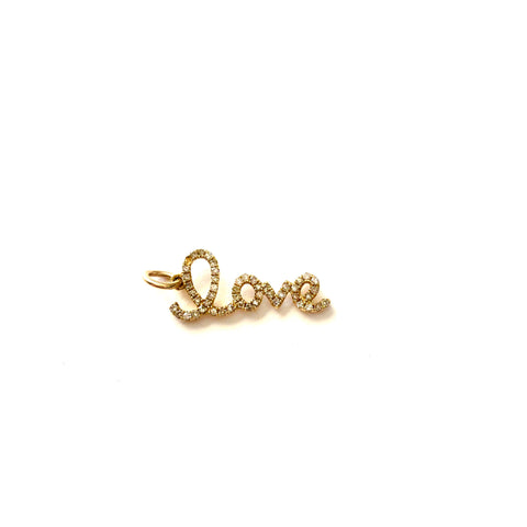 Cursive Love Diamond Charm