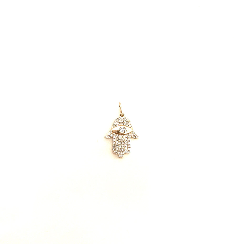 Diamond and Gold Hamsa Charm
