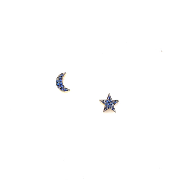 Sapphire Moon and Star Stud Earrings - PAIR