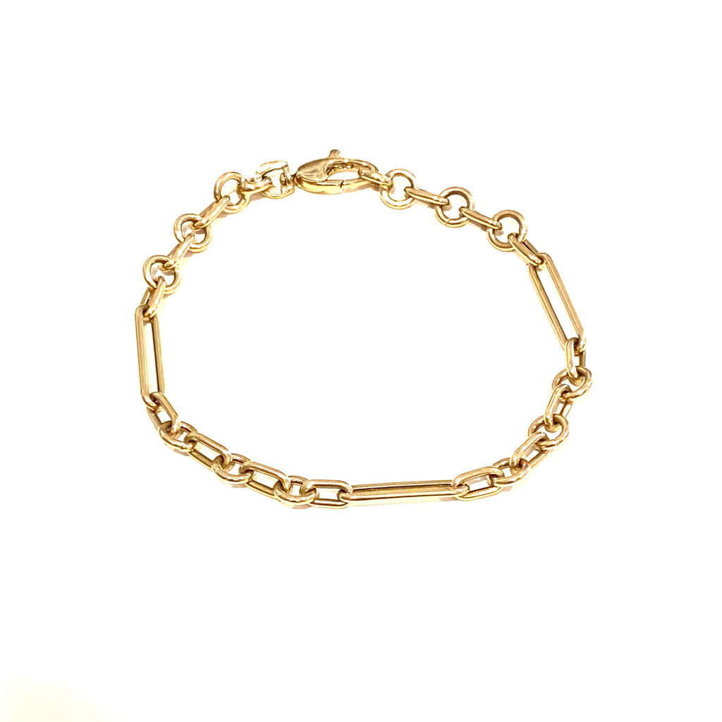 Three Ring Gold Chain Link Bracelet