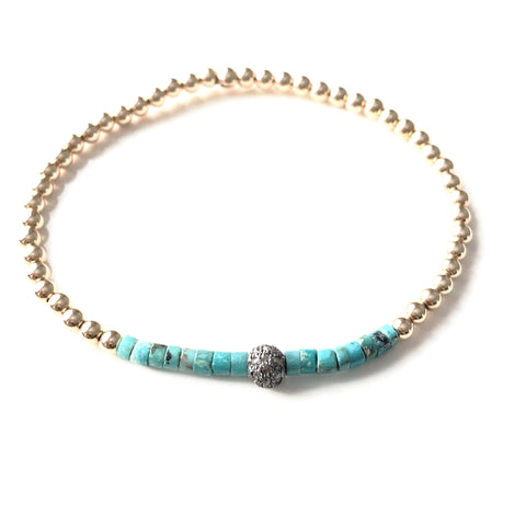 14k GOLD BALL BRACELET WITH TURQUOISE SLICES AND DIAMOND BALL - A.FIER LIFESTYLE