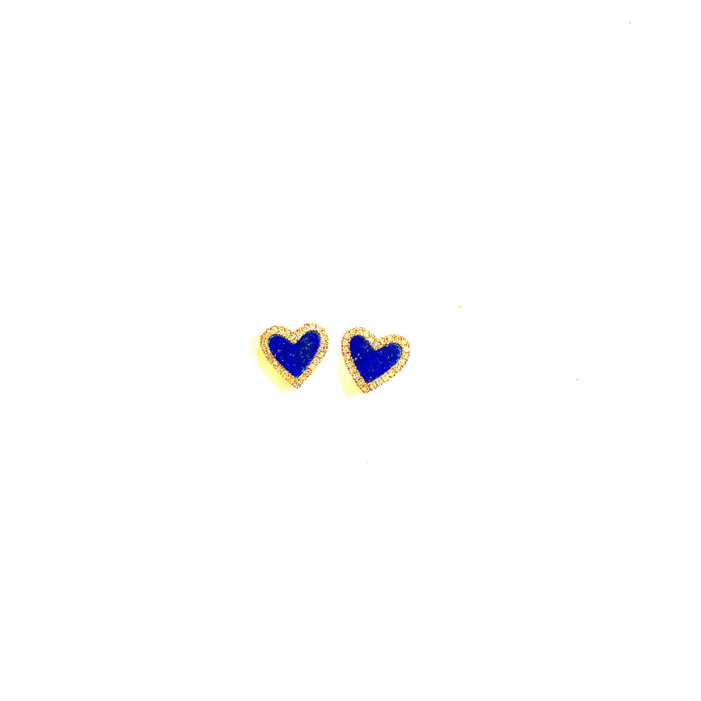Lapis Blue and Diamond Heart Earrings