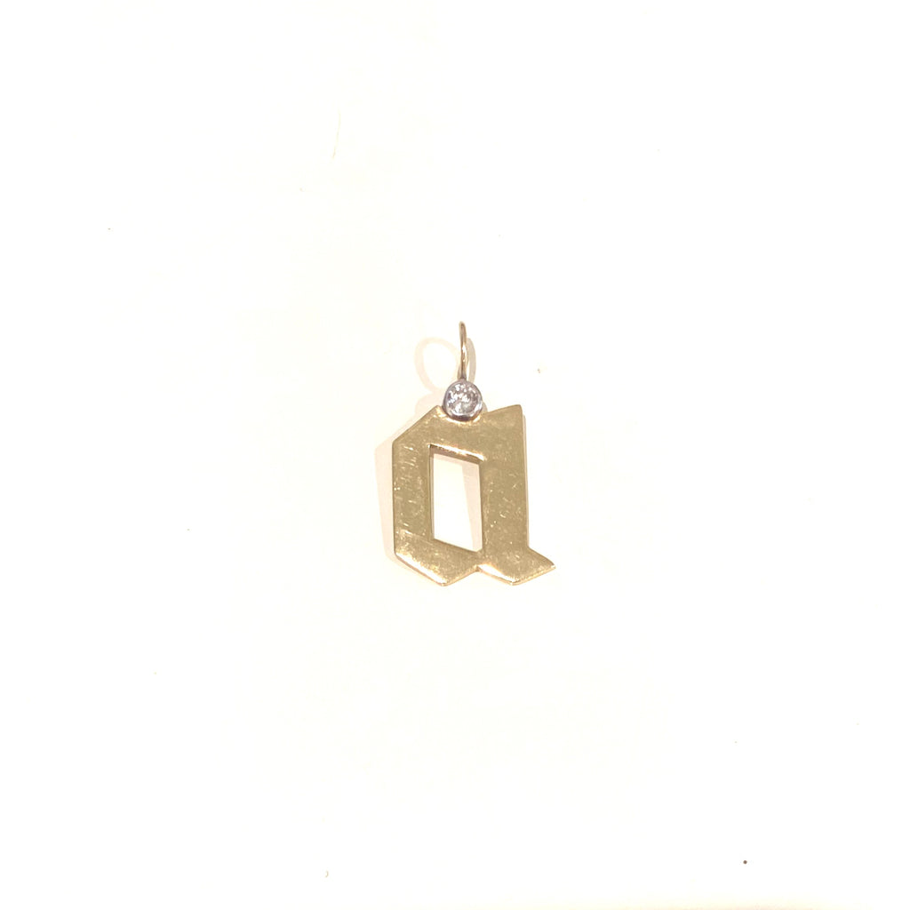Gold Gothic Initial Charm