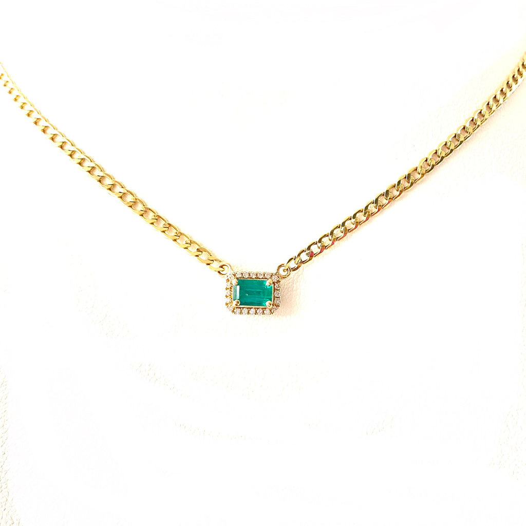 Emerald Solitaire Cuban Chain Necklace