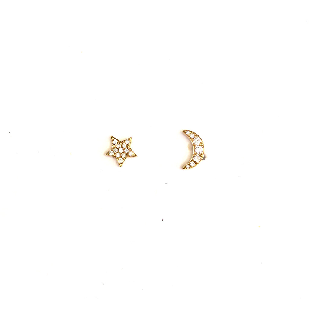 Moon & Star Diamond Earrings