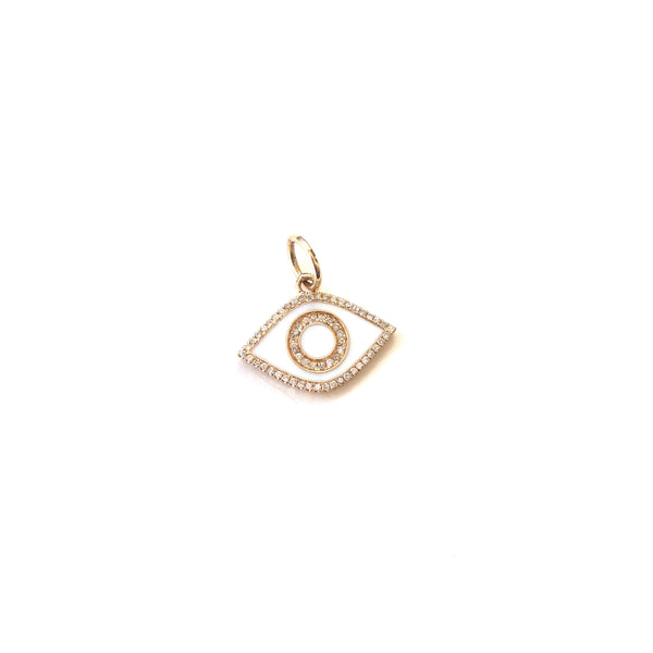 White Enamel and Diamond Evil Eye Charm