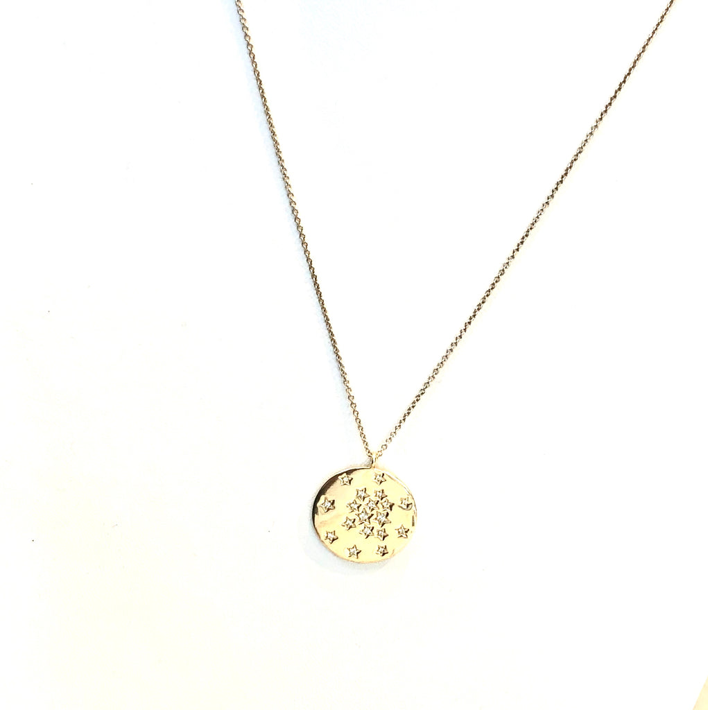Multi Star Diamond Coin Necklace