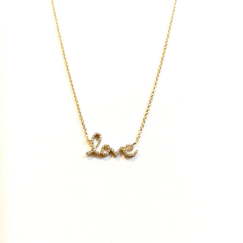 LOVE CURSIVE DIAMOND NECKLACE