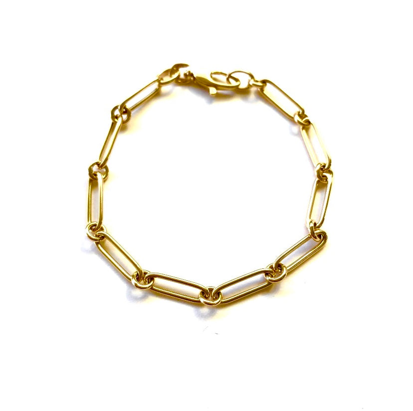 Long Link & Ring Gold Chain Bracelet
