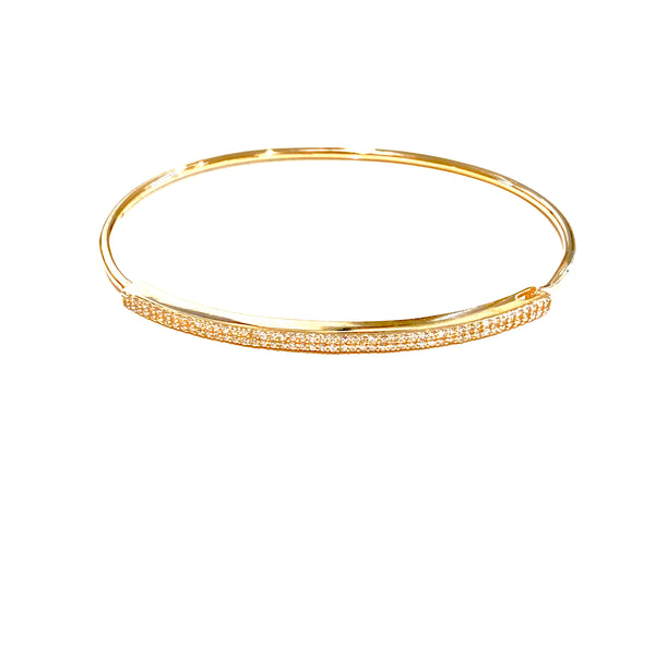 Thin 2-Row Diamond Bar Bangle