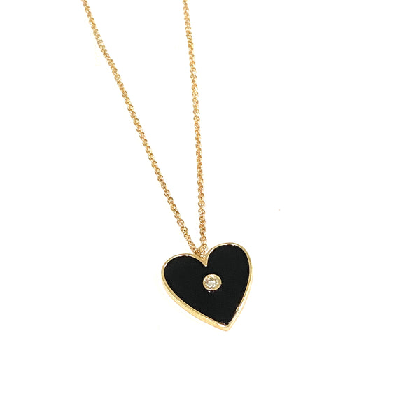 Black Onyx and Diamond Heart Necklace
