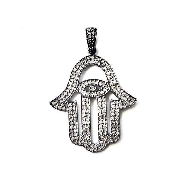 LARGE PAVE DIAMOND HAMSA AND EVIL EYE PENDANT - A.FIER LIFESTYLE