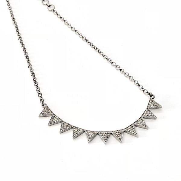 DIAMOND TRIANGLE BAR NECKLACE WITH PAVE LOBSTER CLASP - A.FIER LIFESTYLE