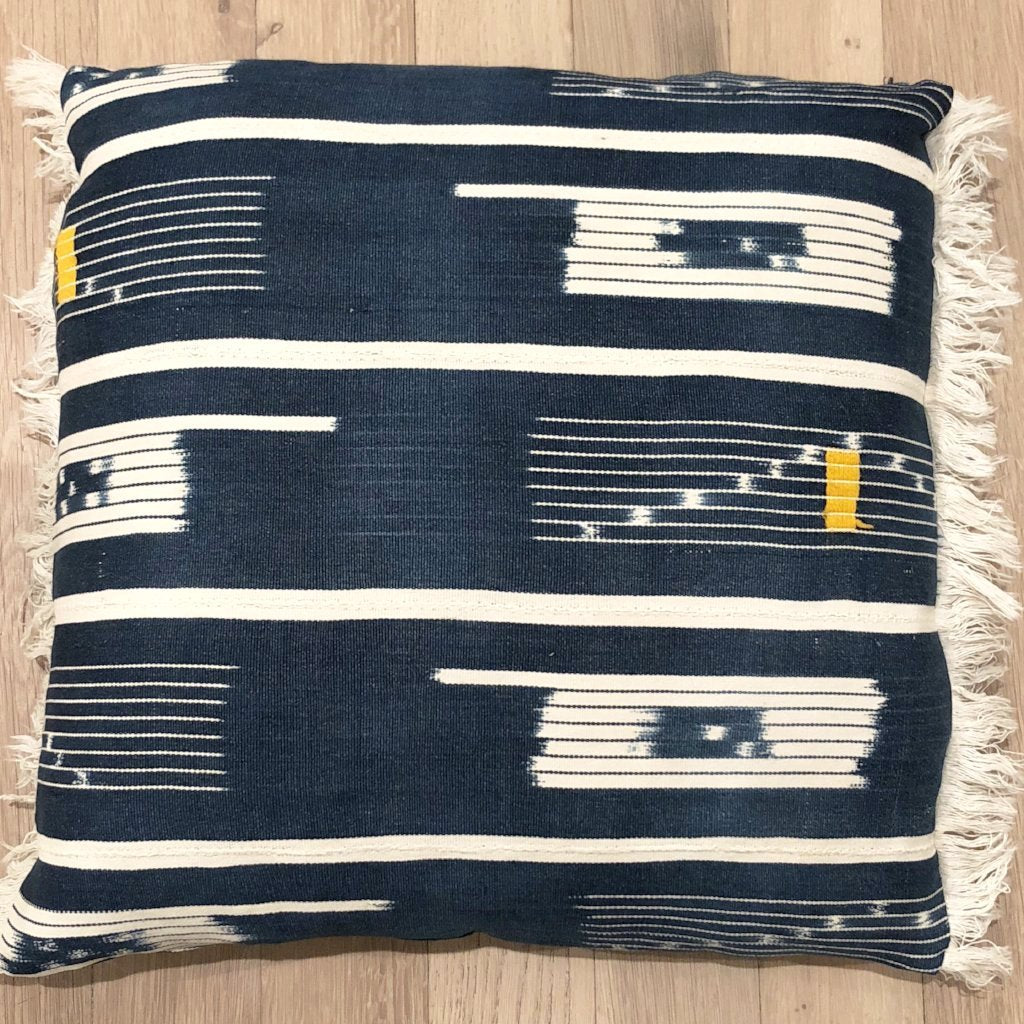 NAVY BOULE THROW PILLOWS WITH FRINGE - A.FIER LIFESTYLE