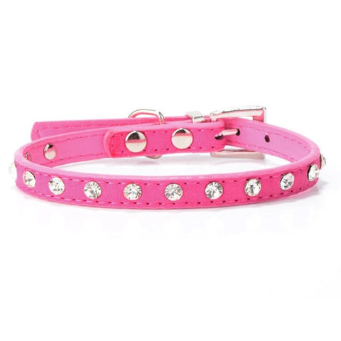 Rhinestone Adjustable Leather Dog Collars