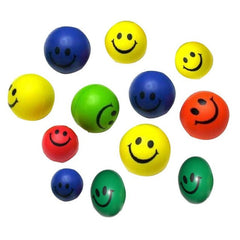 12 Piece Neon Smiley Face Toy Balls