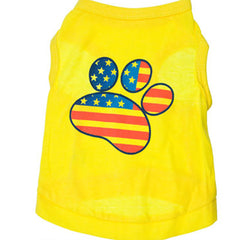 Yellow Paw Print Shirt for Small Dogs