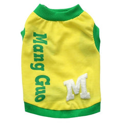 Yellow with Green Trim Shirt for Puppies and Small Dogs