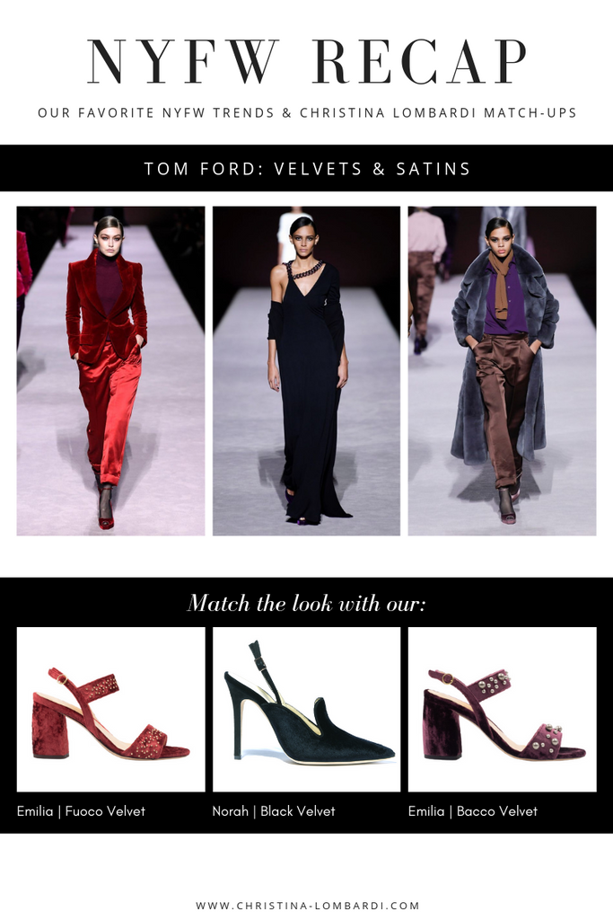 New York Fashion Week looks from Tom Ford matched with Christina Lombardi shoe recommendations