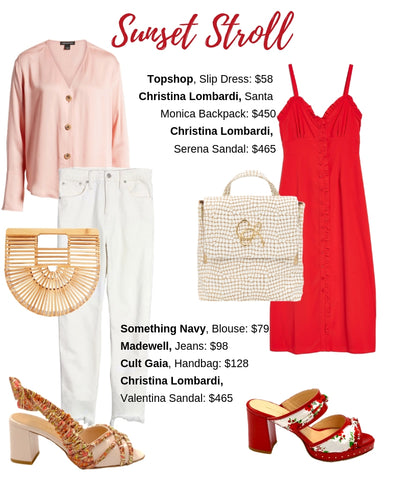 Sunset Stroll style guide with Christina Lombardi Sandals and backpack