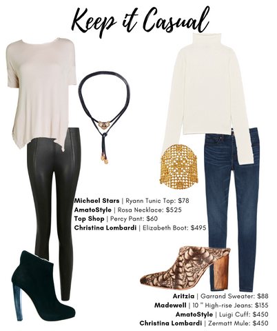 Keep it Casual Style guide featuring Christina Lombardi and AmatoStyle pieces