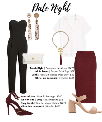 Date Night style guide featuring Christina Lombardi and AmatoStyle pieces