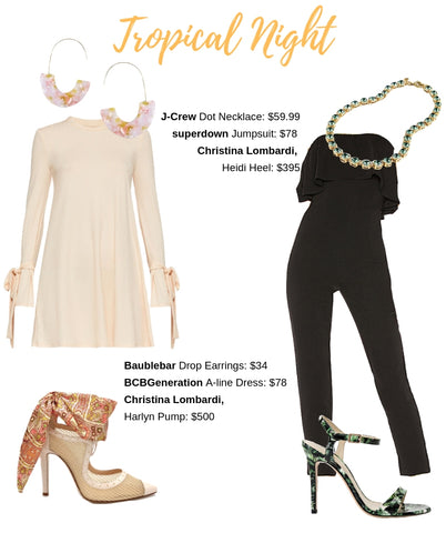 Tropical Night Style Guide with Christina Lombardi Harlyn nude pump and Heidi Green leaf sandal