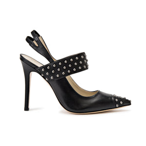 Profile of Alessandra black patent high heel with studded thick strap across foot and pointed toe