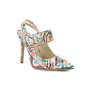 Alessandra colorful Maiolica Tile sling back heel with eyelet accents along a strap across foot