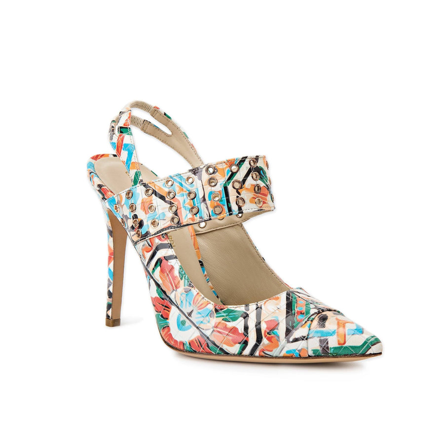Alessandra colorful Maiolica Tile heel with eyelet accents along a thick strap across top of foot