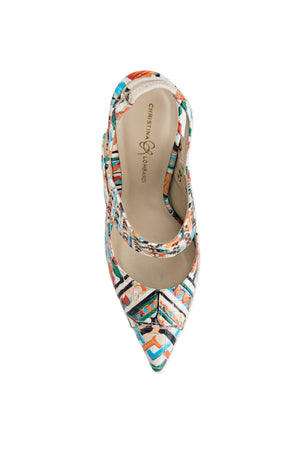 Top view Alessandra Maiolica Tile sling back heel with Christina Lombardi logo sole and pointed toe