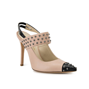 Alessandra nude/black sling back high heel with nude studded strap across foot and black pointed toe