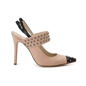 Alessandra nude/black high heel with nude studded thick strap across top of foot and black point toe