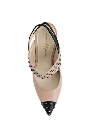 Top view of nude/black Alessandra sling back high heel with Christina Lombardi logo cushioned sole