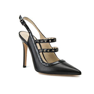 Angelina black leather sling back heel with two studded straps across foot and pointed toe shape